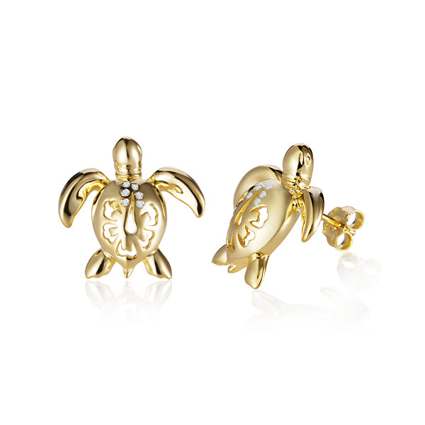 Turtle (Honu) Diamond Hibiscus Post Earrings