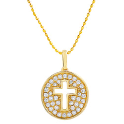 Diamond Cross Circle Pendant