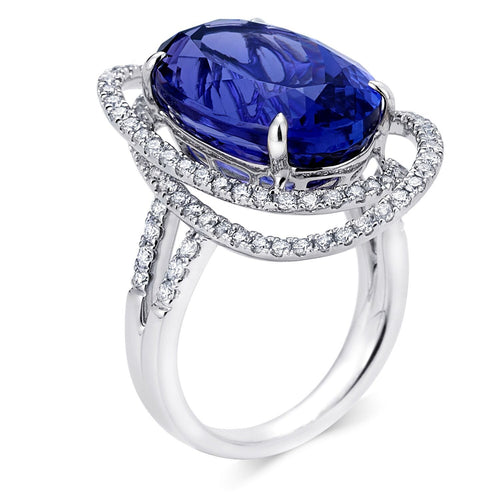 Elongated Double Halo Tanzanite Ring