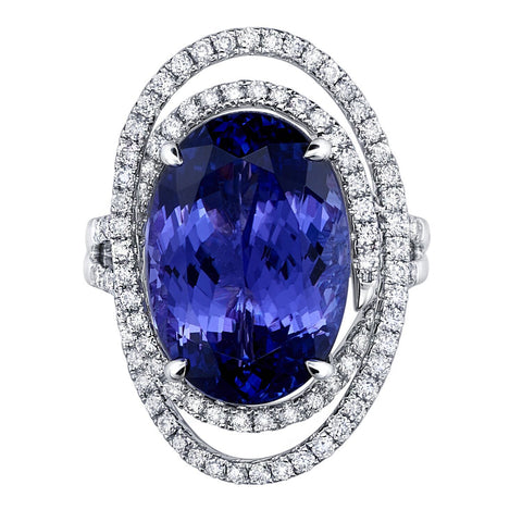 Princess Diana Ring Design in Tanzanite & Diamonds