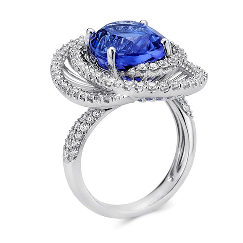 Double Halo Swirl Tanzanite Ring