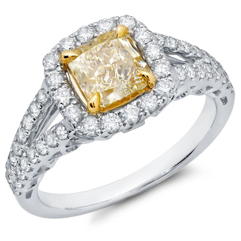 Split Shank Halo Yellow Diamond Ring