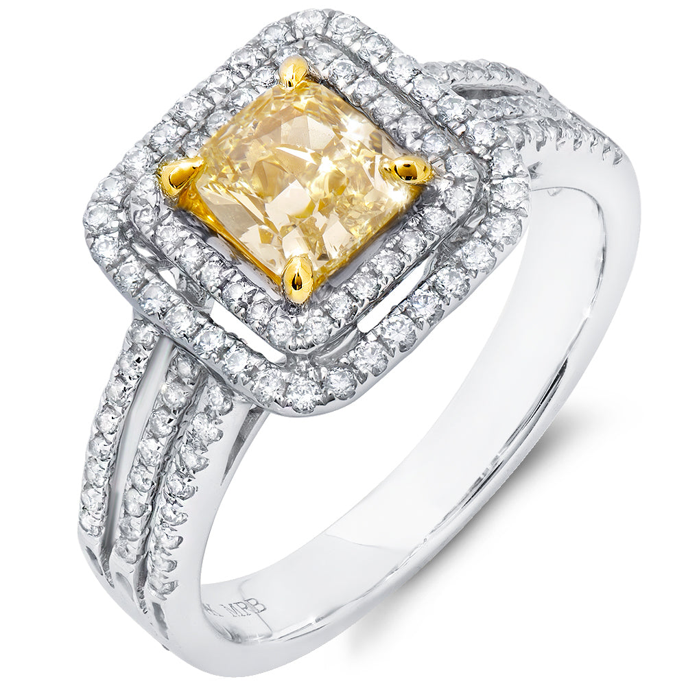 Double Halo Triple Shank Yellow Diamond Ring