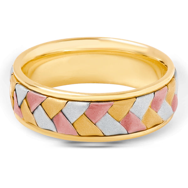 Tri Gold Brushed Inlaid Men's Ring
