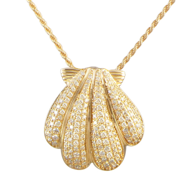 Sunrise Shell Pavé Diamond Pendant