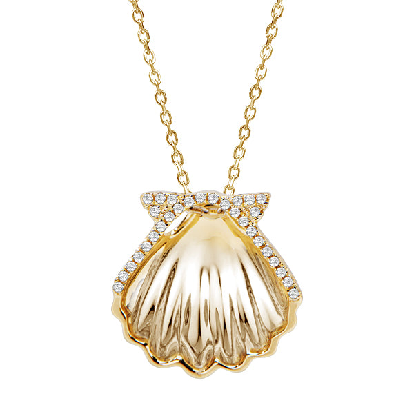 Diamond Sunrise Shell Pendant Greenleaf Diamonds