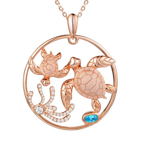 Sold: Turtles Circle of Life Topaz Diamond Pendant