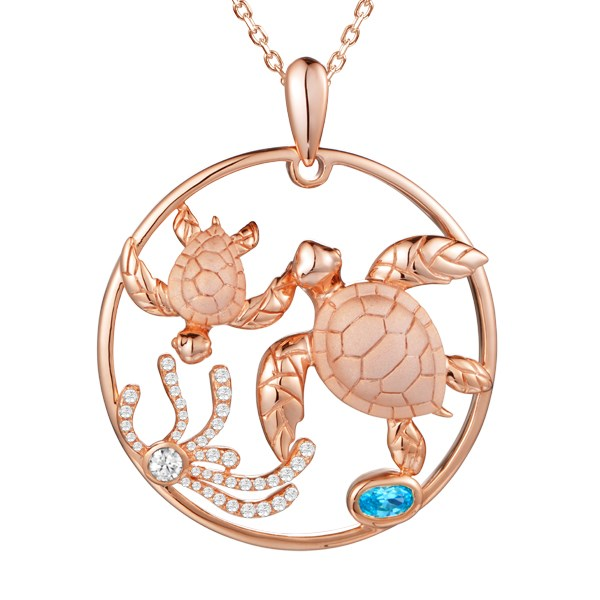 Turtles Circle of Life Topaz Diamond Pendant Greenleaf Diamonds