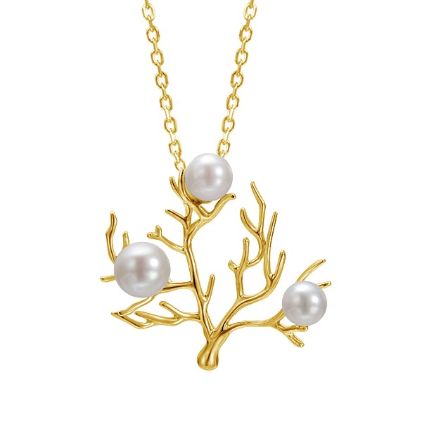 Gold & Pearl Coral Tree Pendant by Greenleaf Diamonds