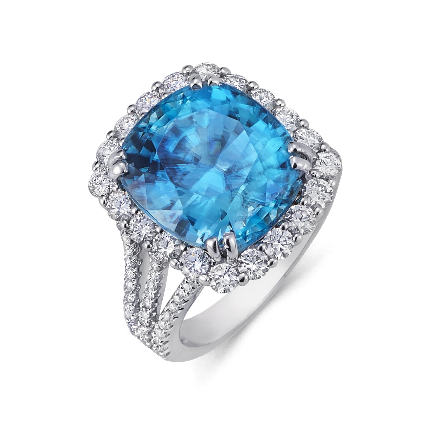 Sold: Blue Zircon & Diamond Halo Ring