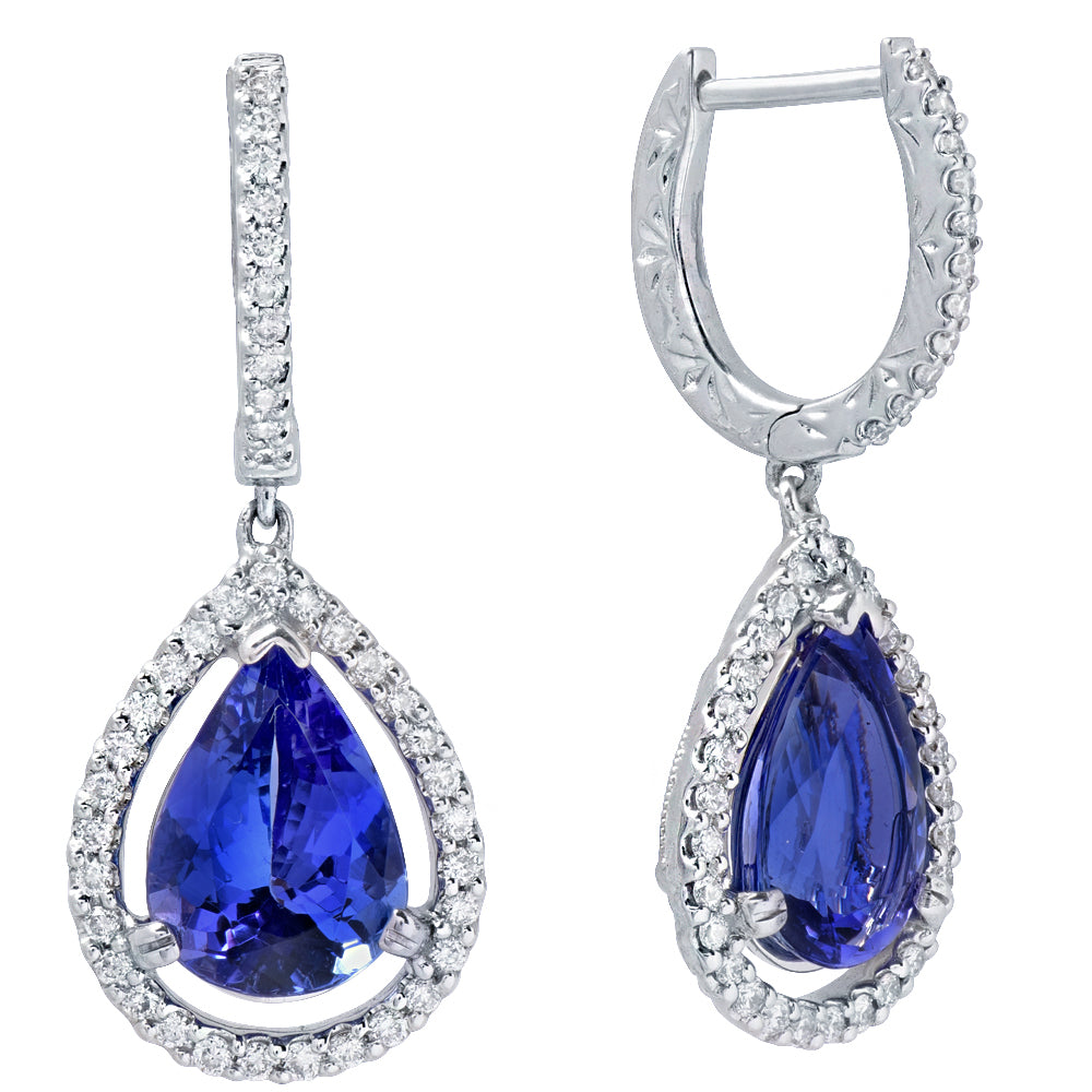 earrings dt tanzanite cut diamond drop white trillion from pave gold encore c