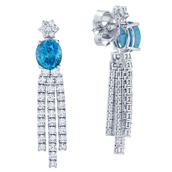 Blue Zircon & Diamond Cascade Earrings