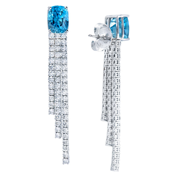 Blue Zircon and Diamond Earrings Greenleaf Diamonds