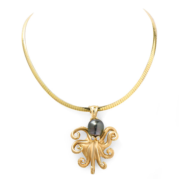 Octopus Pearl & Diamond Pendant
