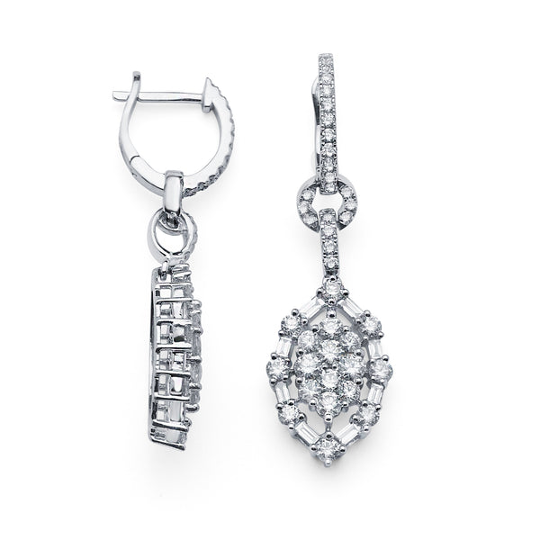 Modern Cluster Baguette & Round Drop Diamond Earrings