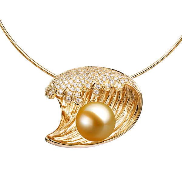 Gold pearl pendant greenleaf diamonds gold pearl pendant mozeypictures Choice Image