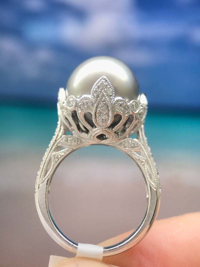 0.63CT Pearl Ring 13.5mm South Sea