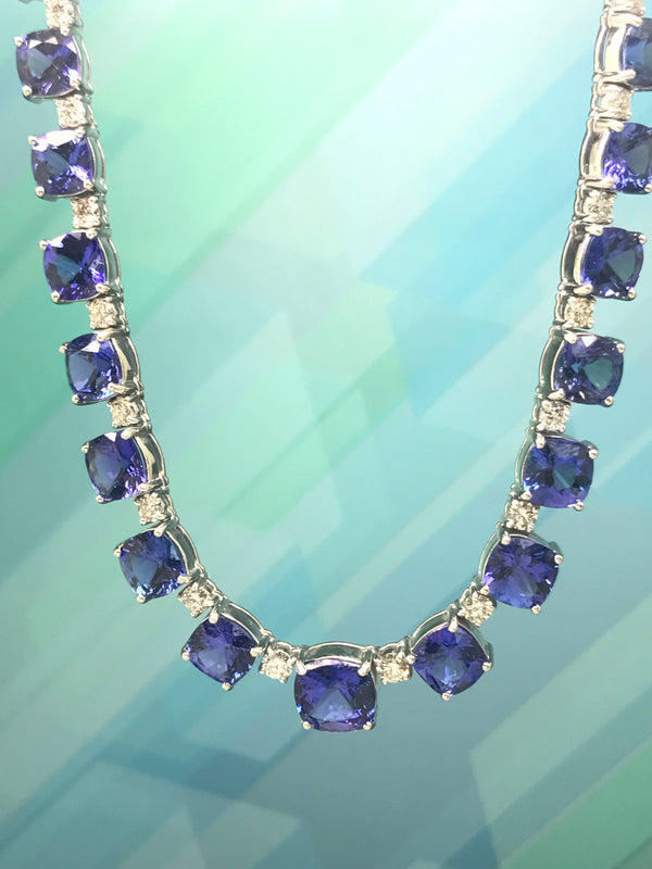 53.42CT Tanzanite Necklace 4.41CT DIA