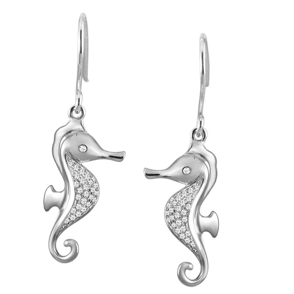Diamond Pavé Seahorse Hook Earrings Greenleaf Diamonds