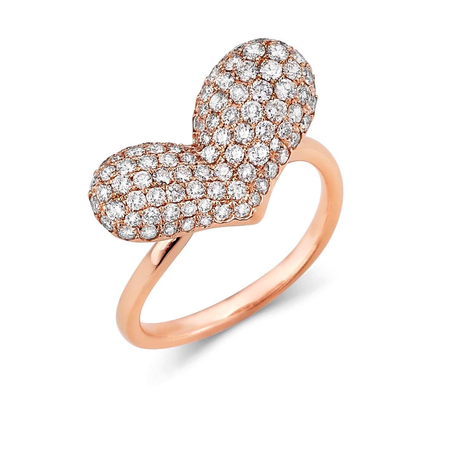 Puffy Pave Heart Diamond Ring