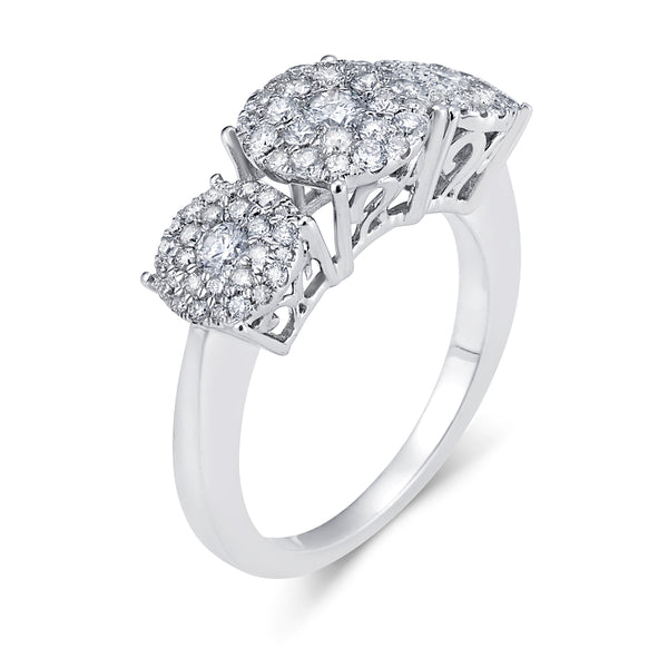 Three Stone Cluster Diamond Ring