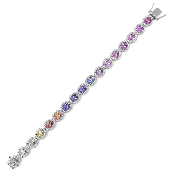 Multi-Color Sapphire Diamond Halo Bracelet