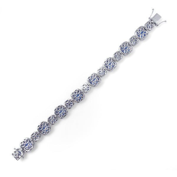 Cushion Cut Tanzanite Halo Bracelet Greenleaf Diamonds