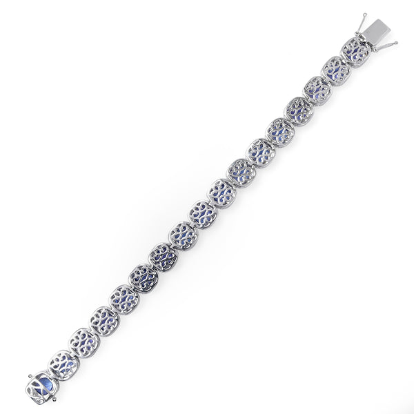 Cushion Cut Tanzanite Halo Bracelet