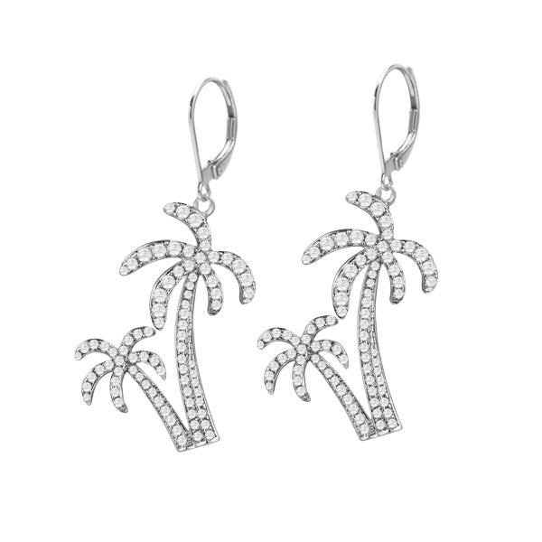 Diamond Double Palm Tree Earrings