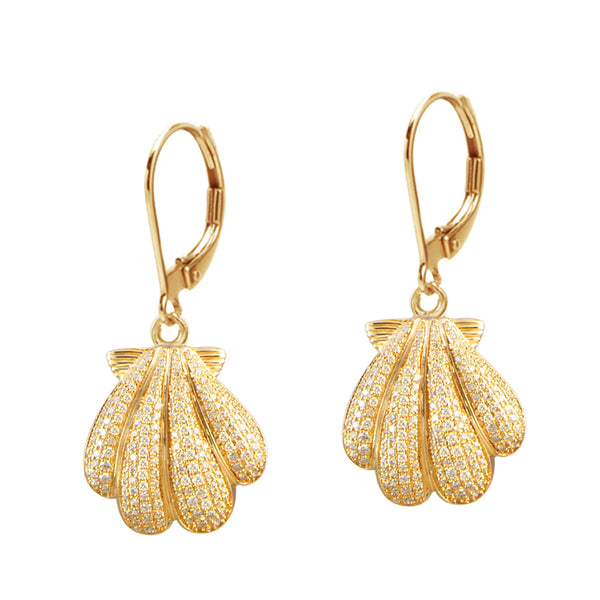 Diamond Sunrise Shell Earrings