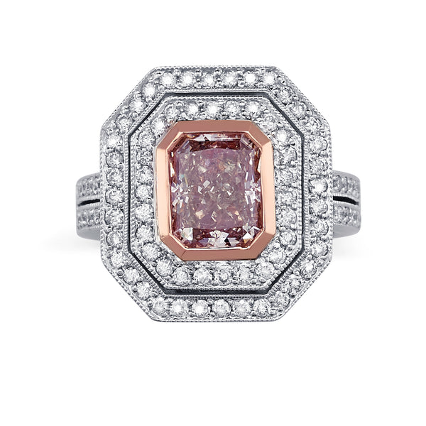 Sold: Double Halo Pink Diamond Ring
