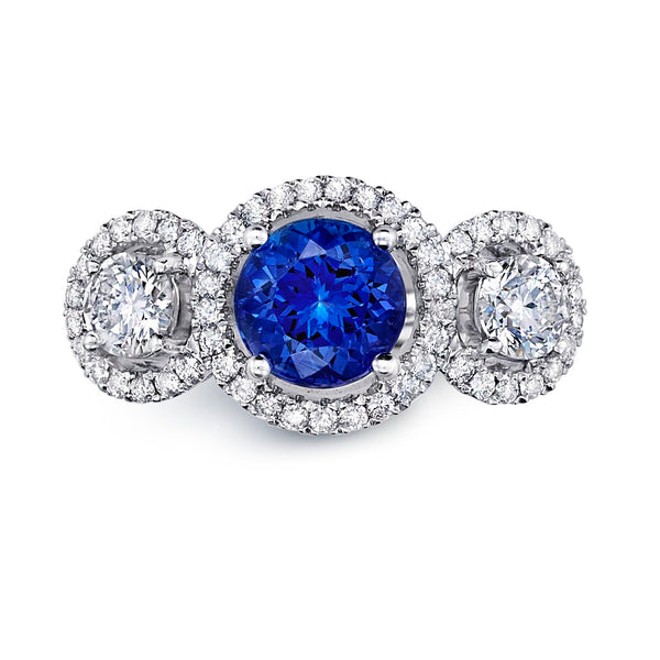 Three Stone Tanzanite & Diamond Halo Ring Greenleaf Diamonds