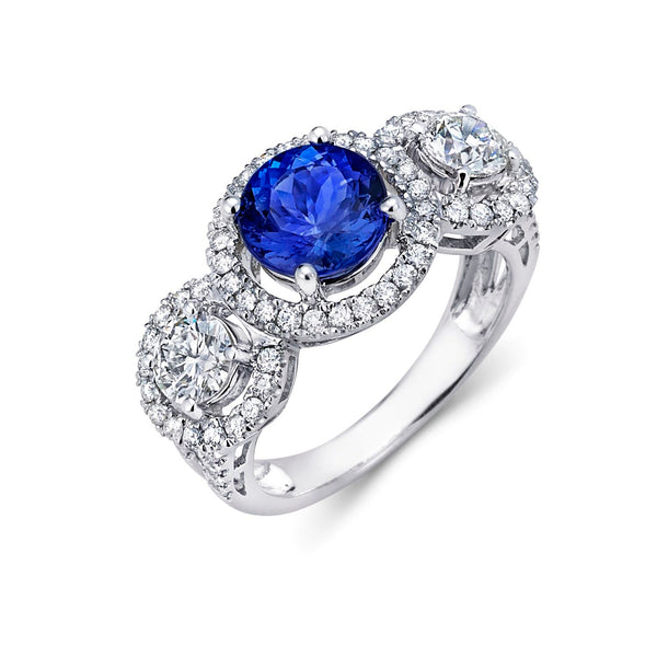 Three Stone Tanzanite & Diamond Halo Ring