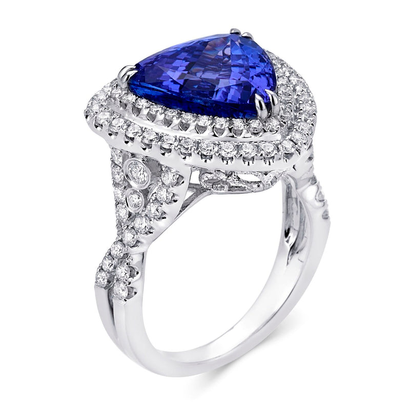 Trillion Tanzanite & Double Diamond Ring