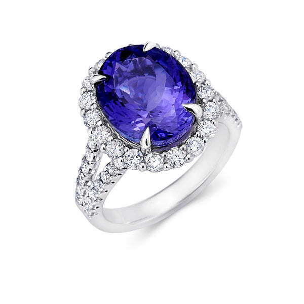 Tanzanite Halo Split Shank Ring