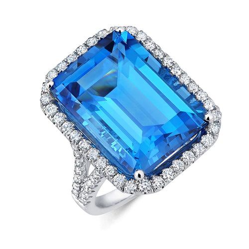 Split Shank Halo Blue Topaz Ring