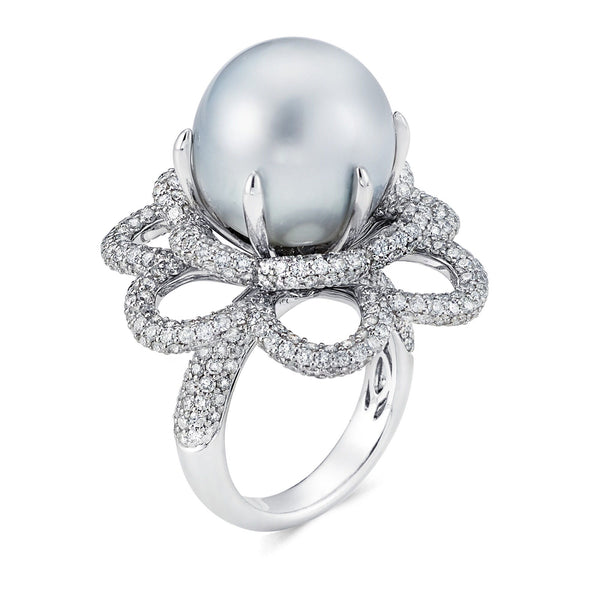 Large Pearl & Pave Ring