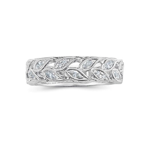 Sold: Antique Leaf Design Diamond Band