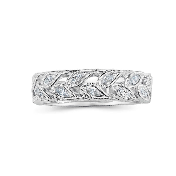 Antique Leaf Design Diamond Band
