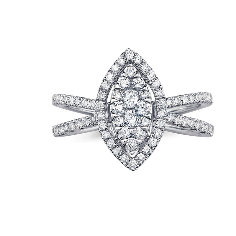Marquee Cluster Halo Criss Cros Diamond Ring