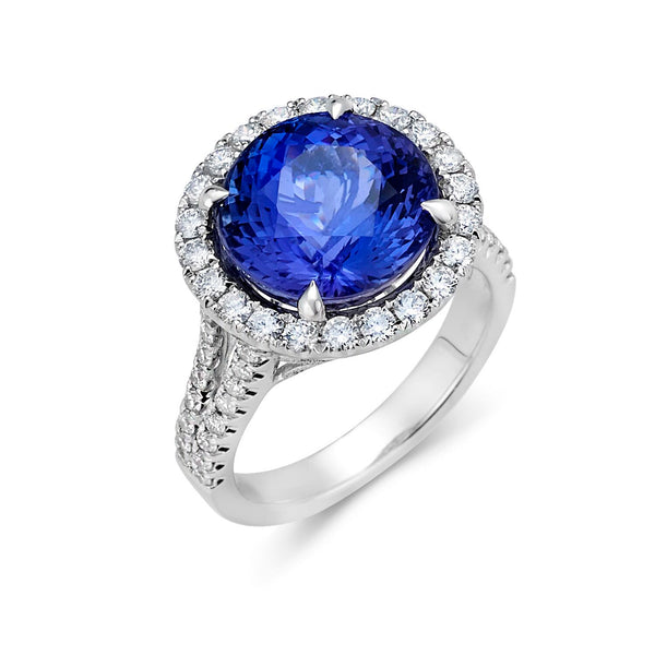 Tanzanite Halo Double Shank Ring Greenleaf Diamonds