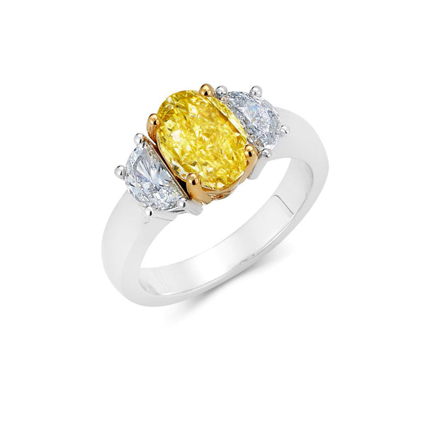 Yellow Diamond Ring with Half Moon Diamonds