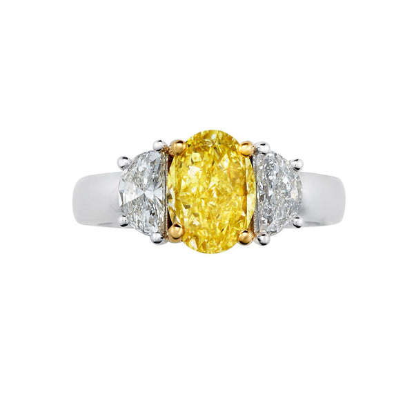 Sold: Three Stone Yellow Diamond Ring with Half Moon Diamonds