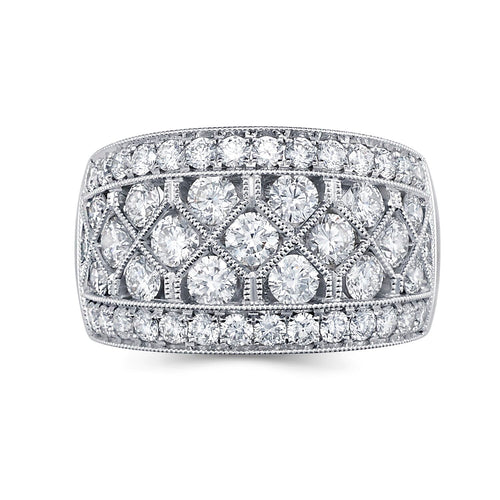 Pave Channel Double Millegrain Diamond Band