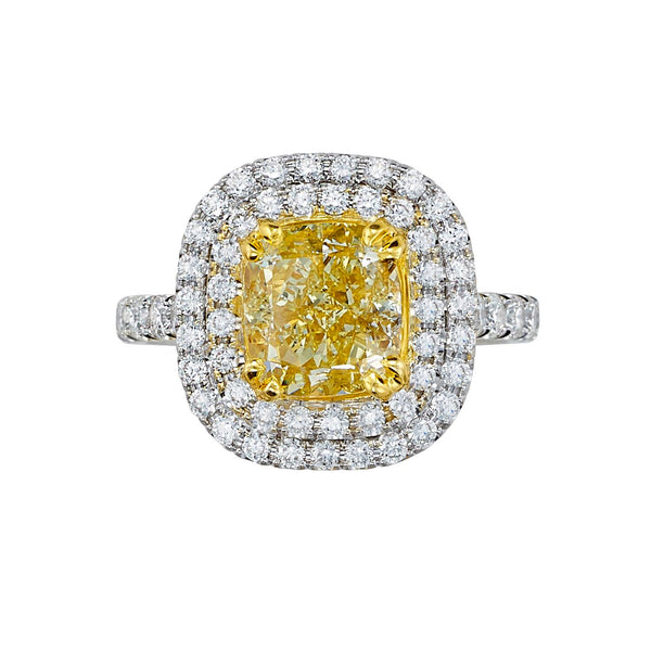 Sold: Double Halo Yellow Diamond Ring