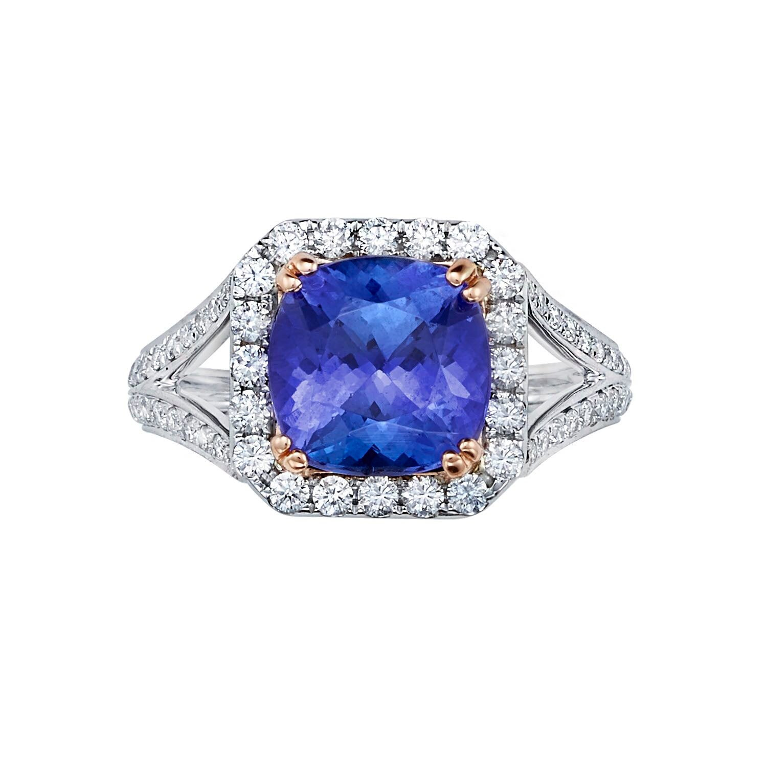Split Shank Tanzanite Halo Ring