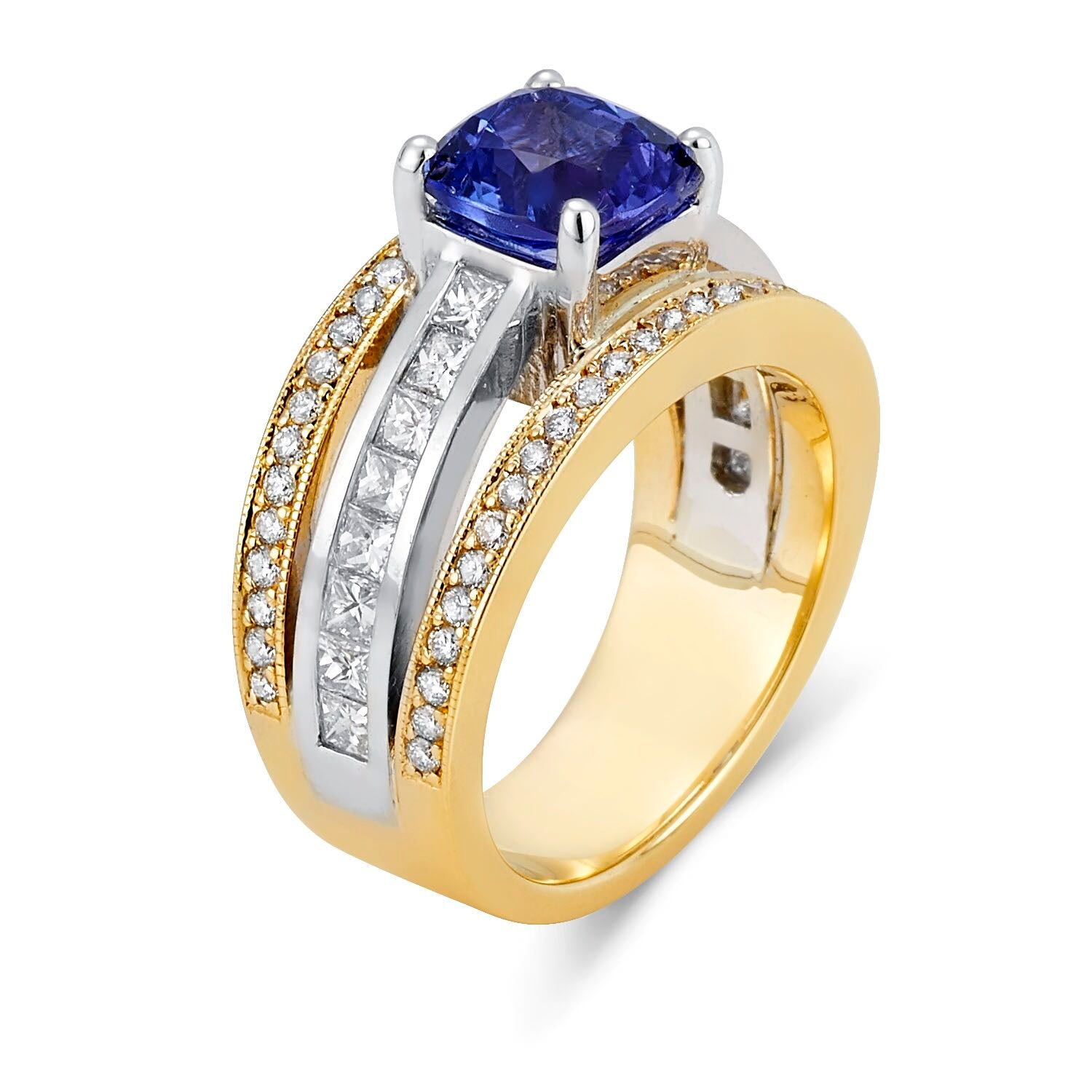Two Tone Tanzanite/Diamond Ring