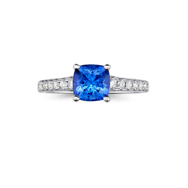 Simple Tanzanite & Diamond Ring