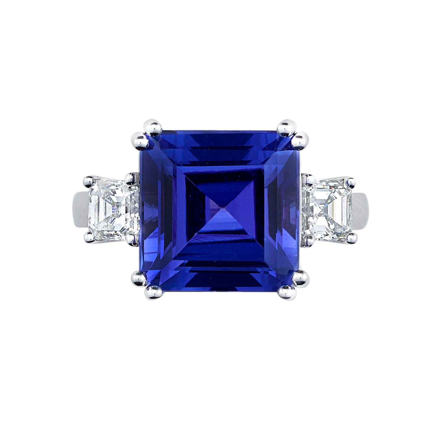 Sold: Traditional Three Stone Asscher Cut Tanzanite & Diamond Ring