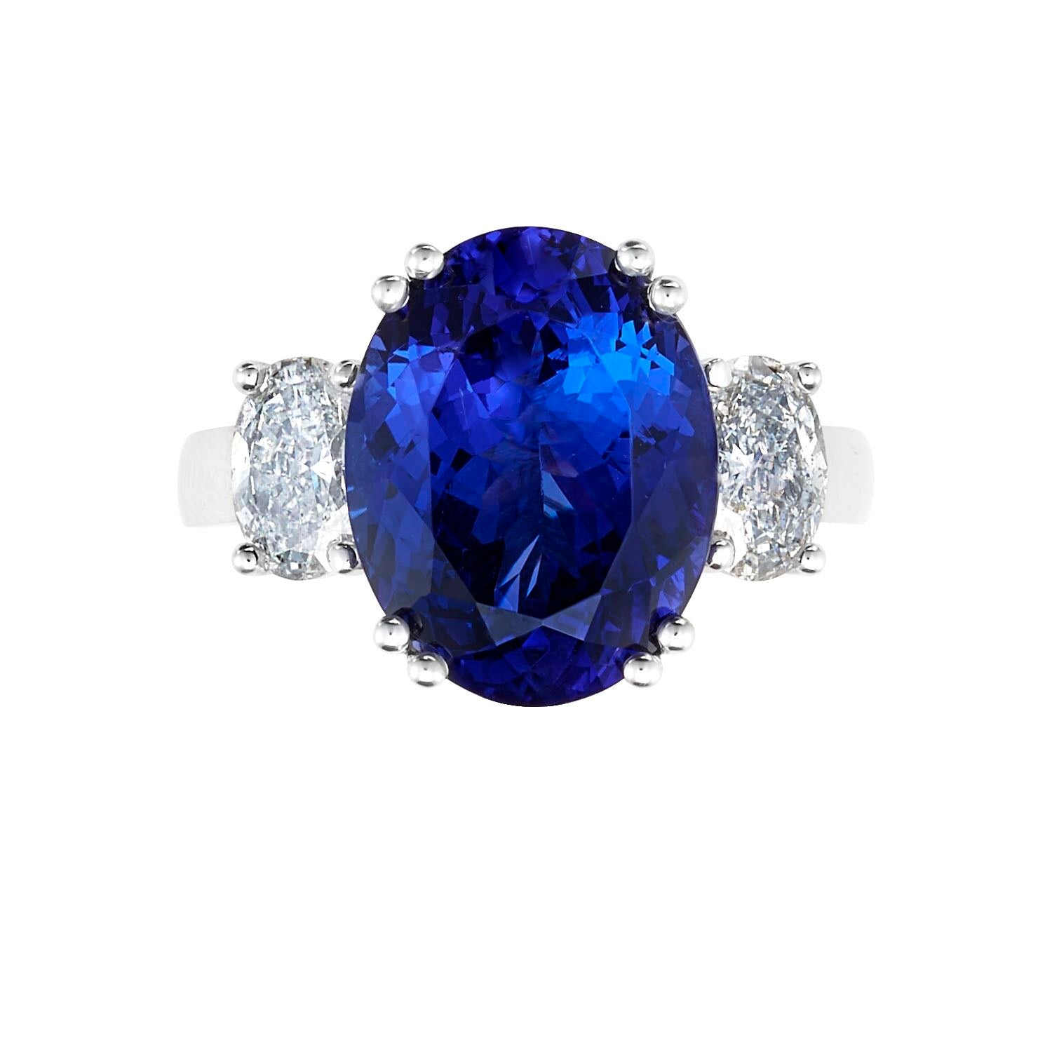 Traditional Three Stone Oval Shape Tanzanite & Diamond Ring